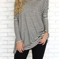 Black-White Striped Dolman Sleeve Long Sleeve Casual Oversized T-Shirt