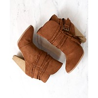 Kara Tassel Heeled Vegan Suede Booties in Rust