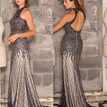Colors 1622 Halter Top Jeweled Mesh Prom Evening Dress