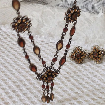 Avon Victorian Revival Demi Parure, Double Strand Tassled, Champagne, Amber, Topaz Rhinestone, Marquis Bead, Fall Colors, Decoletage Length