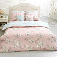 Light Pink / Sky Blue Combination White Floral Patterned Reversible Queen Size Bedding Set