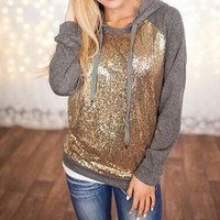 Fashion Sequin stitching hooded sweater