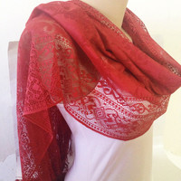 Red Dainty Lace Scarf - Shawl - Long Pashmina Wrap