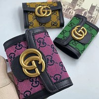 GG embroidered letters denim stitching color clamshell G wallet clutch Bag