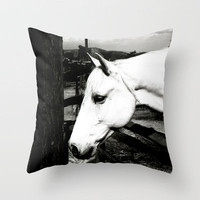 white horse Throw Pillow by Marianna Tankelevich   Society6