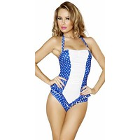 Sexy Blue And White Polka Dot Pin Up Vintage One Piece Halter Swimsuit