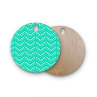 """CarolLynn Tice """"Symetrical"""" Teal Turquoise Round Wooden Cutting Board"""