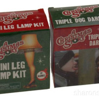 Lot 2 A Christmas Story Triple Dog Dare Flagpole Leg Lamp Mega Mini Kits Books