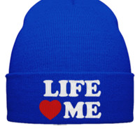 LIFE LOVE ME EMBROIDERY HAT - Beanie Cuffed Knit Cap