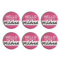 Mildred Hello My Name Is Plastic Resin Button Set of 6