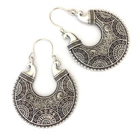 Tibetan Silver Round Vintage Ethnic Dangle Earrings Retail Jewelry Jewellery Gift For Women Girls