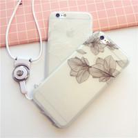 Exquisite fashion leaves transparent soft silicone mobile phone case for iphone 6 6s 6plus 6s plus + Nice gift box!