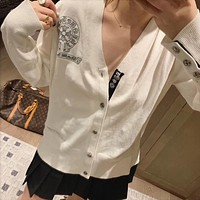 """Chrome Hearts"" Women Casual Fashion Logo Embroidery Long Sleeve V-Neck Cardigan Knitwear Thin Coat"