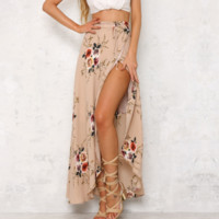 Sexy print flower open side long skirt Pink