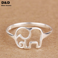 Size 4  New  925 Sterling  Ring Jewelry Elephant Fashion Designer Rings For Women Gift Fine Jewelry  PYBE126