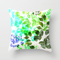 Backyard blooms :Ficus Leaves Throw Pillow by Sreetama Ray | Society6