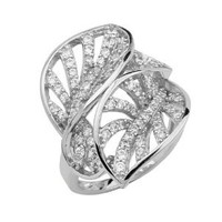 .925 Sterling Silver Rhodium Plated Pave Set 2 Leaf Ring