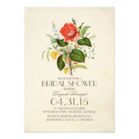 classic vintage watercolor flower bridal shower 5x7 paper invitation card