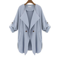 Women Trench Coat Fashion Lady Solid Color Loose Casual Windbreaker Autumn cardigan Coat GXFS1111112