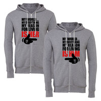 my world is her my world is him matching couple zipper hoodie