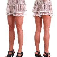 G2 Fashion Square Printed Banded Waist Skirt With Lace Hem Line(BEG-S)