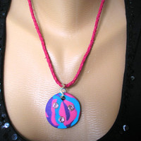 Festival Necklace, Rave Jewelry, Party Pendant, Music Festival, Psychedelic, Fimo Jewelry, Funky, Chunky, Rainbow, Boho, Trendy, Hippie