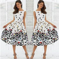 50'S 60'S ROCKABILLY DRESS Vintage Pleat Swing Pinup Retro Housewife Party Dress