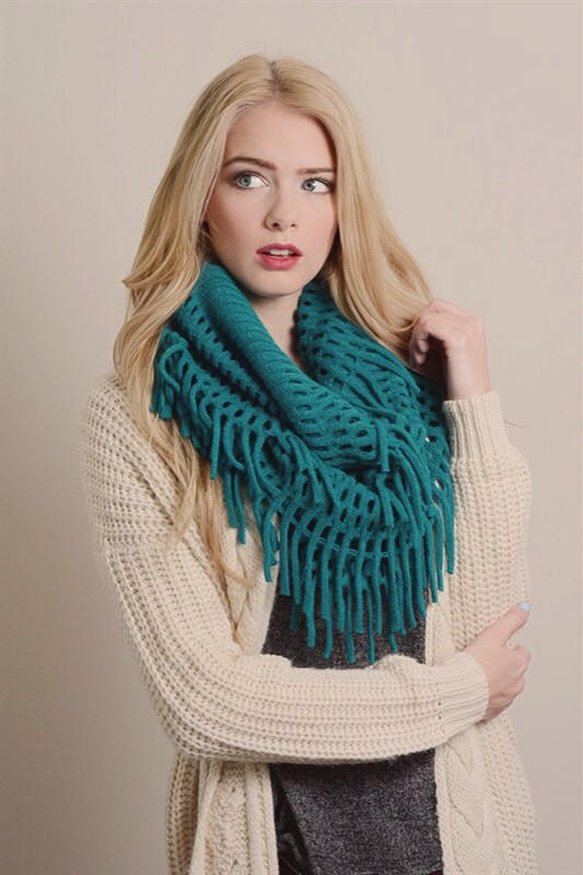Image of Soft Chenille Fringe Infinity Scarf---NEW COLORS ADDED!!