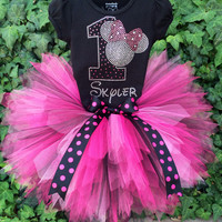 Disney inspired Rhinestone pink Polkadot Minnie Mouse Birthday Tutu outfit tutu set w/name first 1st 2nd 3rd 4th 5th -7th Long/Short Sleeve