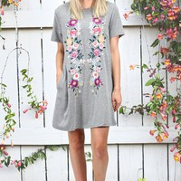 Blossoming Floral Embroidery Pocket Tee Dress {Grey}