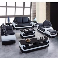 Modern Leather Sectional Sofa Group Side Table+Coffee Table+TV Cabinet