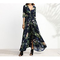 Women's new single-breasted five-point sleeve printed dress long skirt
