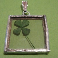 SALE four leaf clover pendant necklace silver by peeno123