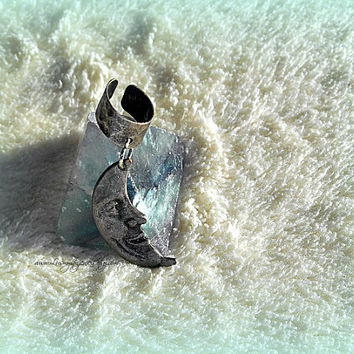 Antique Silver Moon Ear Cuff, Celestial Jewelry, Woman, Beach Wear, Direct Checkout, Ready to Ship