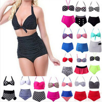 Women's Retro Vintage Sexy High Waist Bikinis Set Swimsuit Swimwear Push Up Bathing Suit Beachwear