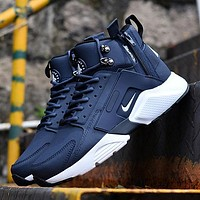 Sale Nike Air Huarache X Acronym City Customise MID Leather Sport Shoes Blue White