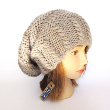 Slouchy beanie hat light beige slouch hat chunky knit slouchy hat Irish knitwear fashion accessories for women pure wool gift idea for her