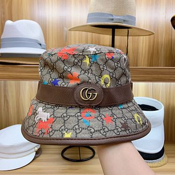 """Gucci"" Women Retro Cute Multicolor Cartoon Print  Fisherman Hat Fashion Bucket Hat Sun Hat"