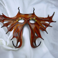 Costume - Mask - Butterfly Dragon Red Gold Orange Leather Mask
