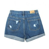 High Waist Ripped Denim Shorts with Rolled Cuffs
