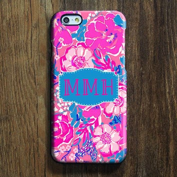 Pink Floral Monogram iPhone 6s Case iPhone 6 plus Case Custom iPhone 5S Case iPhone 5C Case iPhone 4S Case Galaxy S6 Edge Case 110