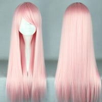 70cm Long Light Pink Wig