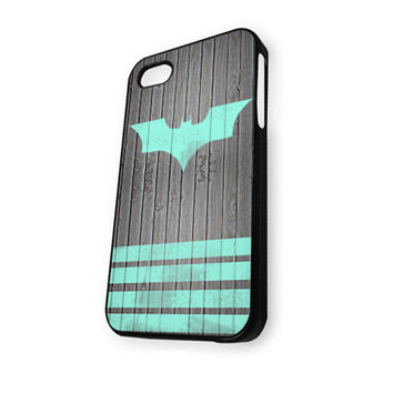 Mint Batman Logo Strippes on dark wood background iPhone 5C Case