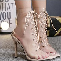 Hot style pointy, cross-laced, see-through stilettos  shoes