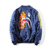 Bape 2018 autumn and winter models tiger shark print embroidery cotton clothes F-A-KSFZ Blue