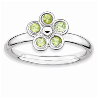 Sterling Silver Stackable Expressions Peridot Flower Ring: RingSize: 6