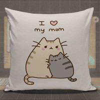 Pusheen Mothers Gift I Love Mom pillow case, pillow cover, cute and awesome pillow covers