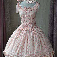 Printed Scoop Neck Heart Printed Lolita Dress by Magic Tea Party