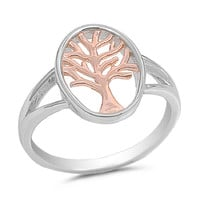 925 Sterling Silver Rose Gold-Tone Plated Tree of Life Ring 15MM