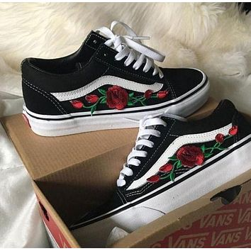 Vans Old Skool Casual Fashion Embroidery Flower Canvas Shoes Sport Flats Shoes-1